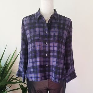 Equipment Plaid Silk Button-Down Cropped Blouse S
